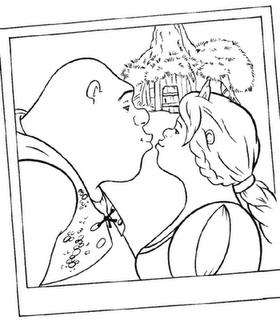 Beso de Shrek y Fiona
