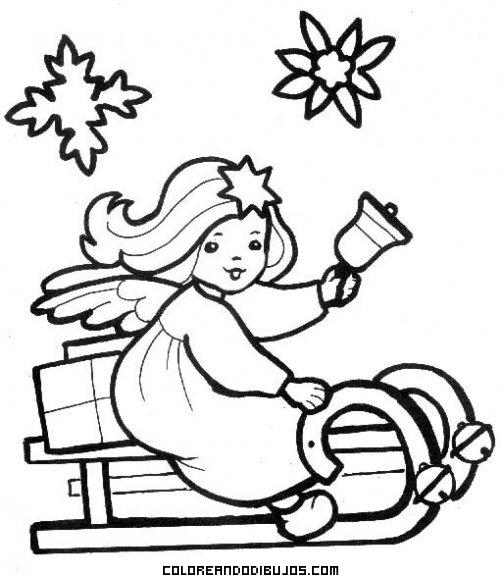 Angel en trineo para colorear