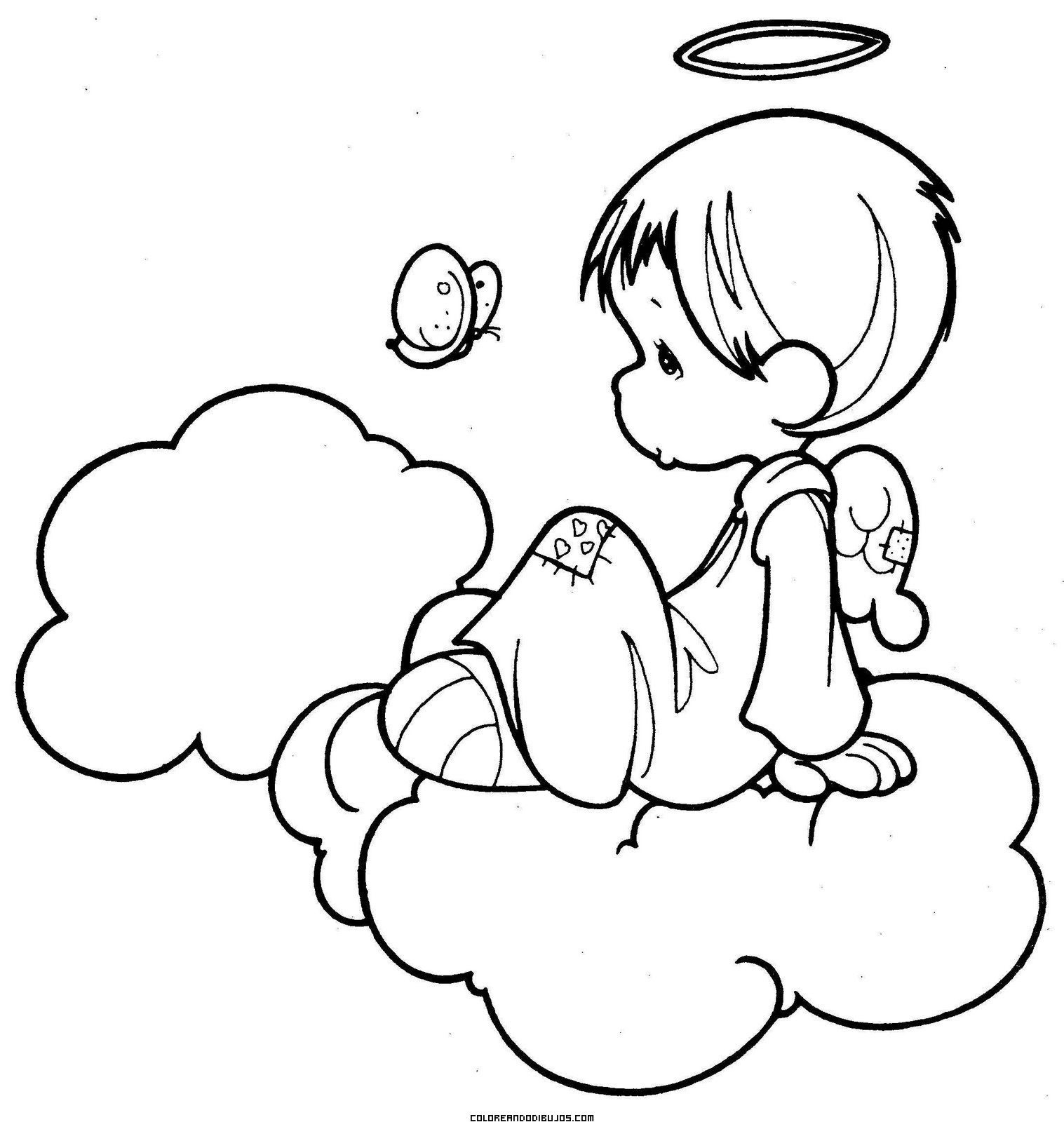 Angelito sentado en una nube