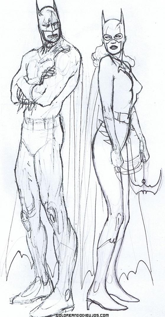 de Batman y Batgirl para pintar