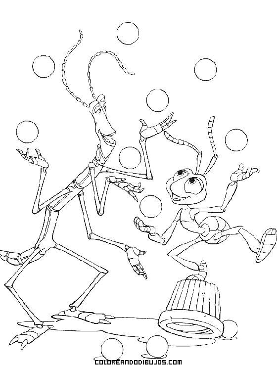 Bicho palo y hormiga para colorear
