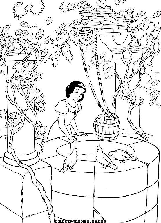 Blancanieves junto a un pozo