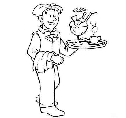 Camarero muy contento sirviendo un helado