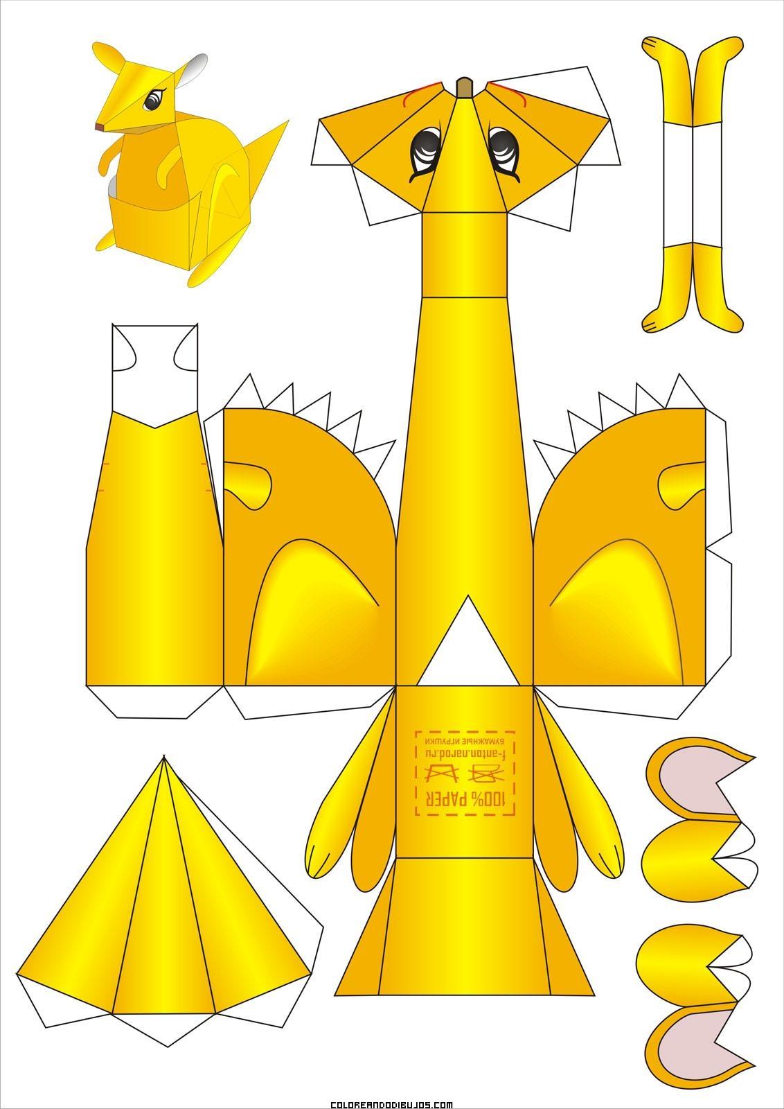 Maqueta de Canguro para recortar y armar