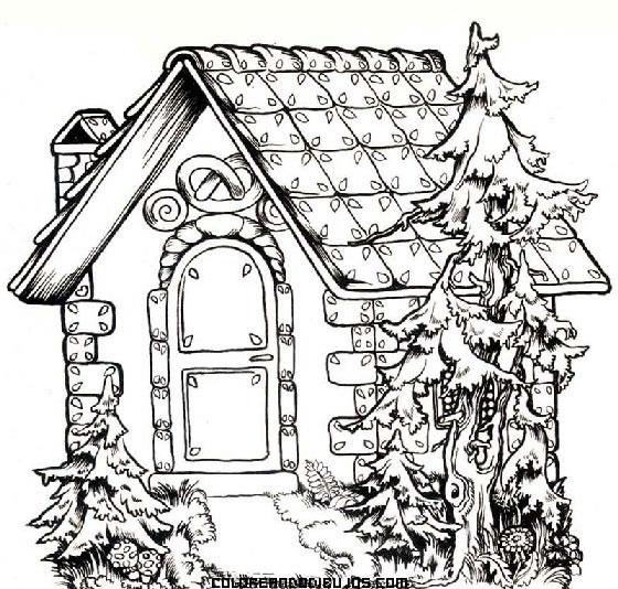Casita de cuento para colorear - Dibujos de tejados ...
