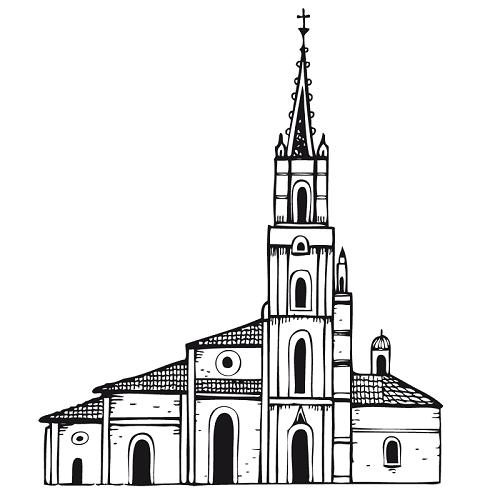 Bonita catedral para colorear