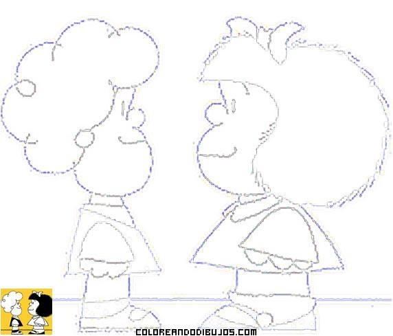 Mafalda y Susanita para colorear