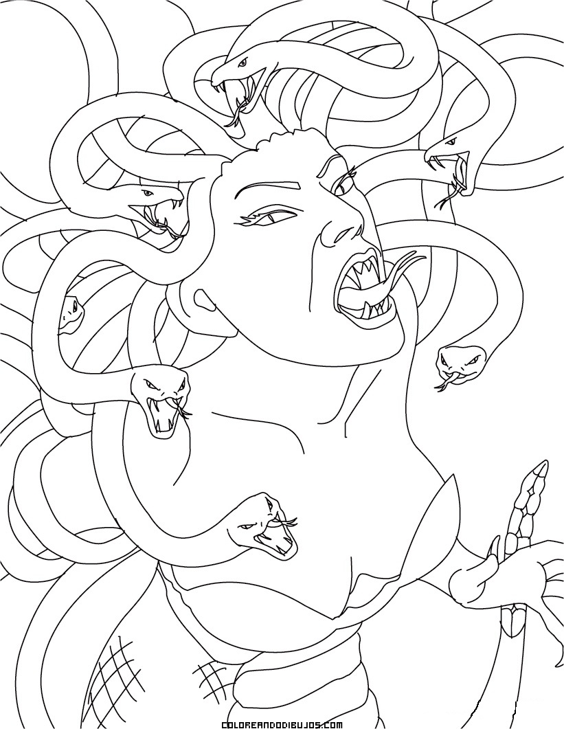 Medusa mitol gica para colorear for Medusa coloring pages