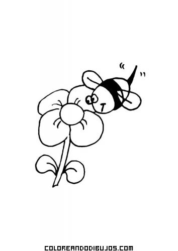 Abeja y flor para colorear