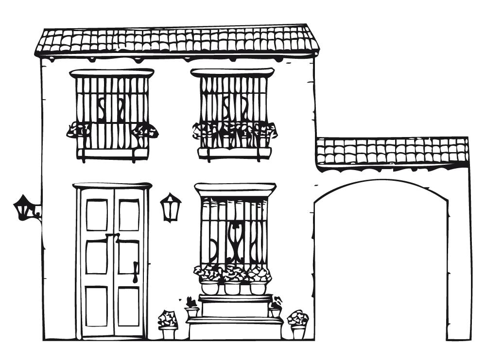 Casa rústica para colorear