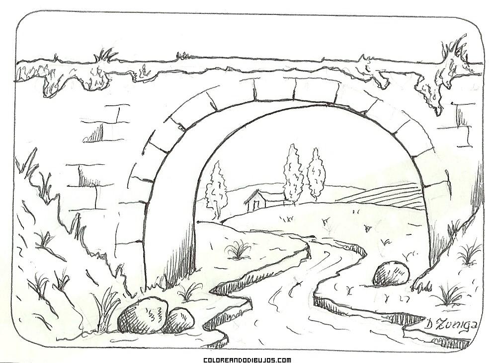 Puente romano para colorear