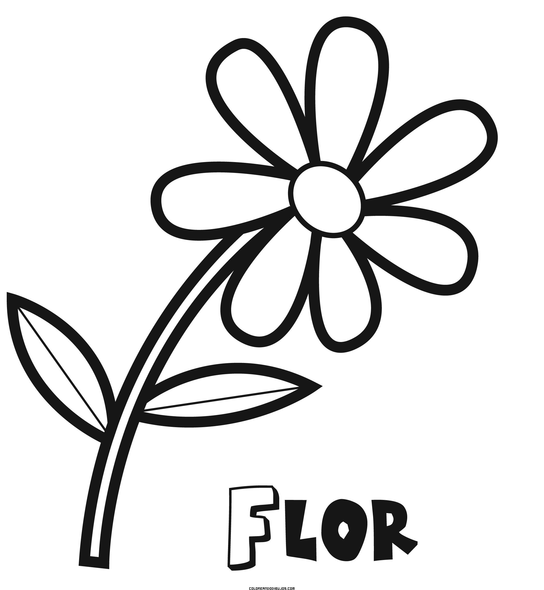 Dibujo de una sencilla flor for Dibujo de una piedra para colorear
