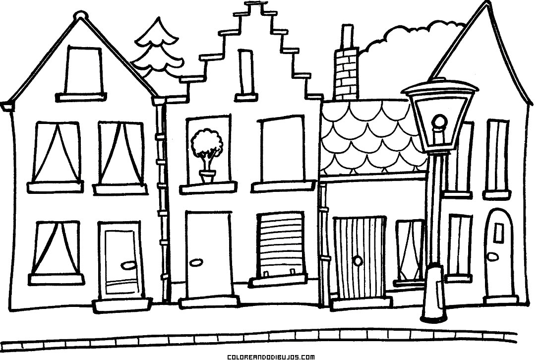 Pequeño y bonito pueblo para colorear