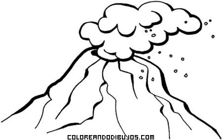 Volcán activo para colorear
