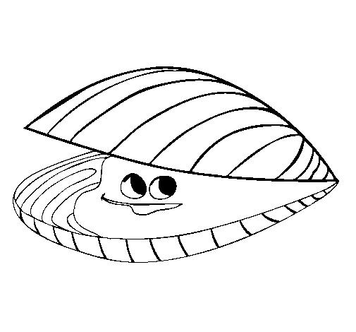Dibujo de una almeja marina muy risueña