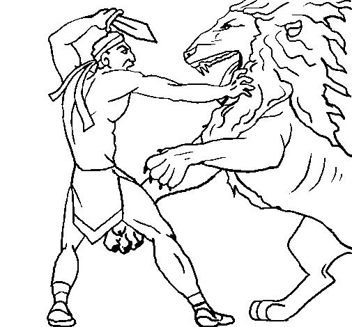 Gladiador contra león en la arena