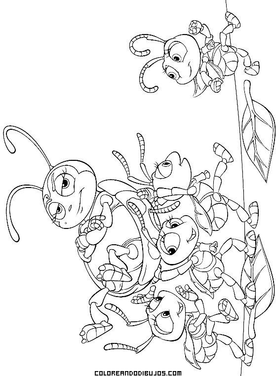 Divertidos personajes de Bichos para colorear