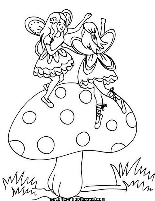 Dibujos De Setas Para Colorear. Alicia De Miniatura Junto A Una Seta ...