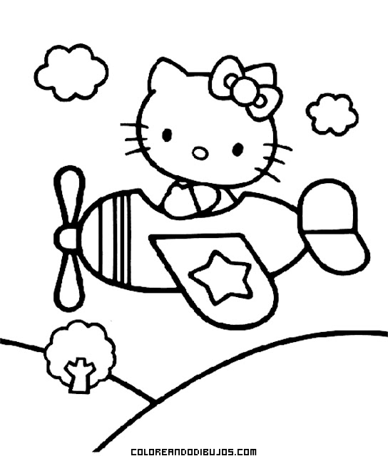 Hello Kitty pilotando una avioneta