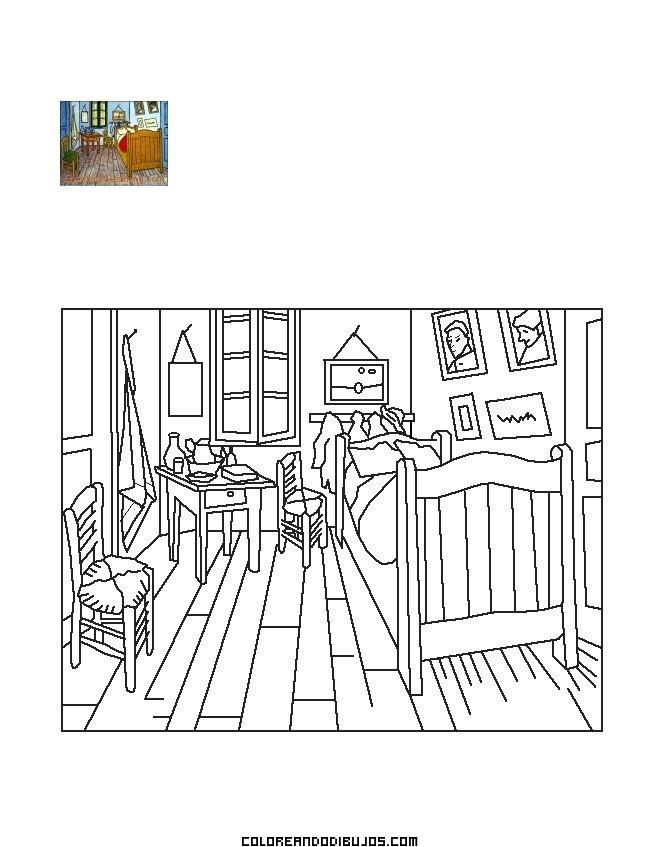 El Dormitorio de Van Gogh para colorear