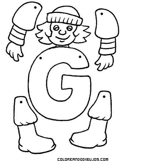Letra G para recortar, colorear y armar