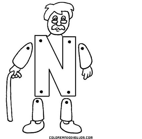 Letra N articulada para recortar y colorear y armar