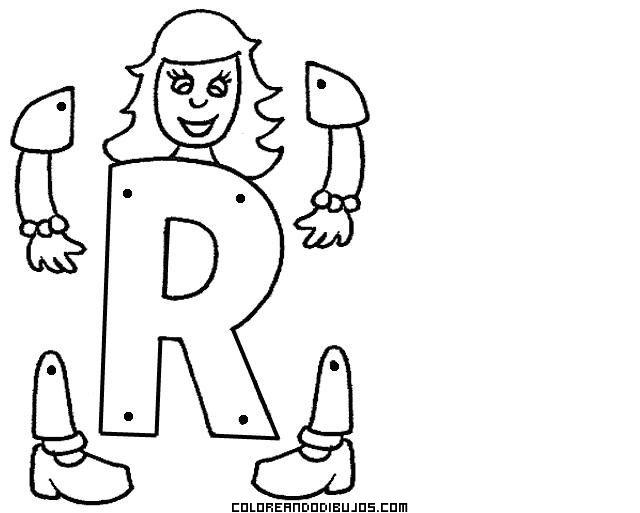 Letra R articulada, colorea y aprende