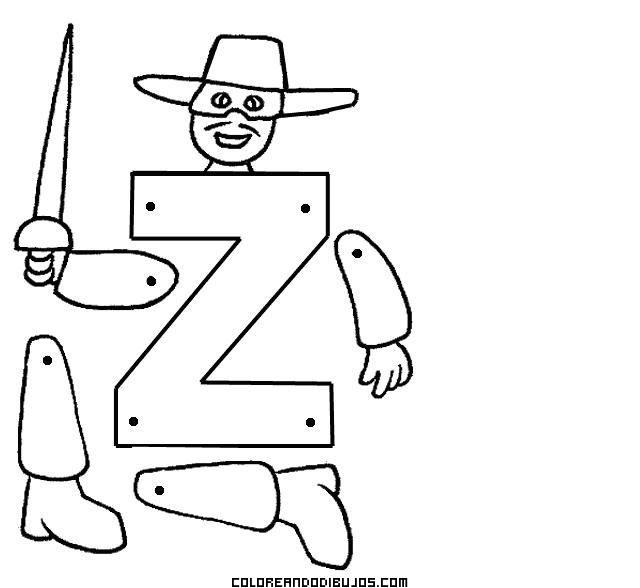 Letra Z articulada para recortar y colorear
