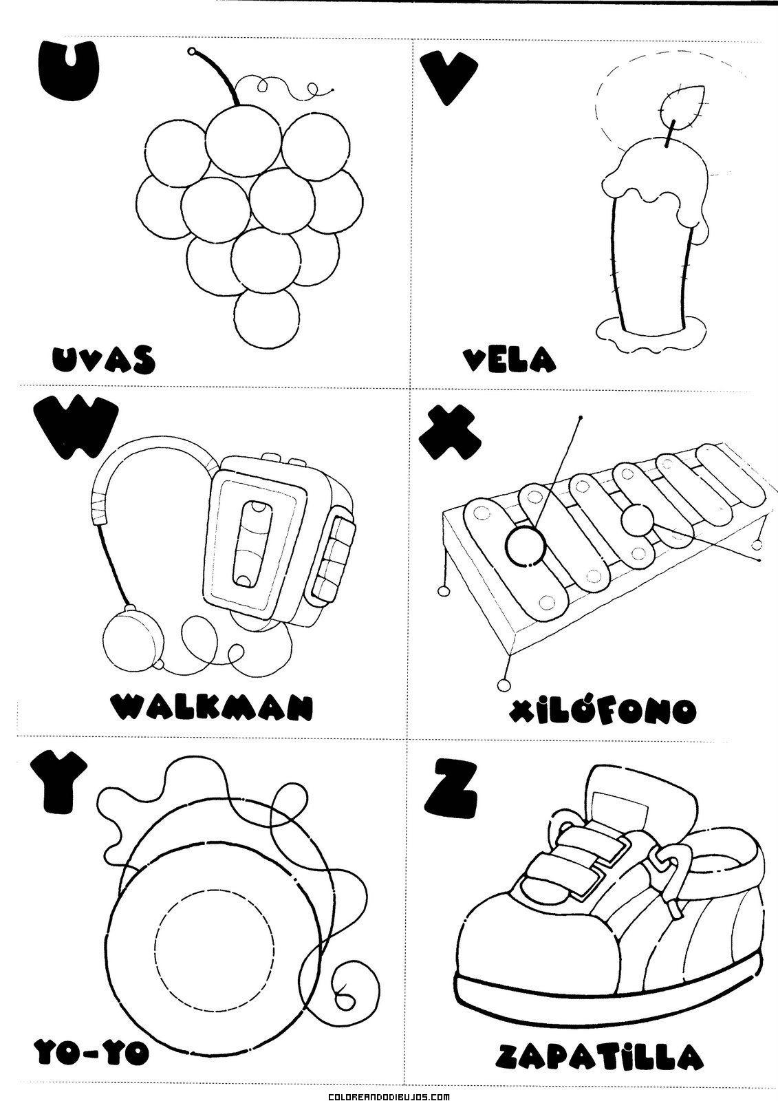 Letras U, V, W, X, Y, Z para colorear