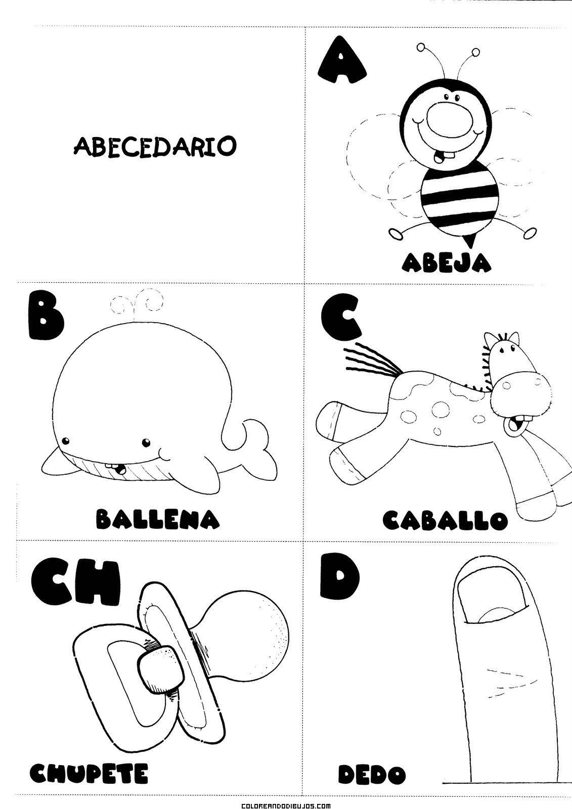 Letras A, B, C, CH, D para colorear
