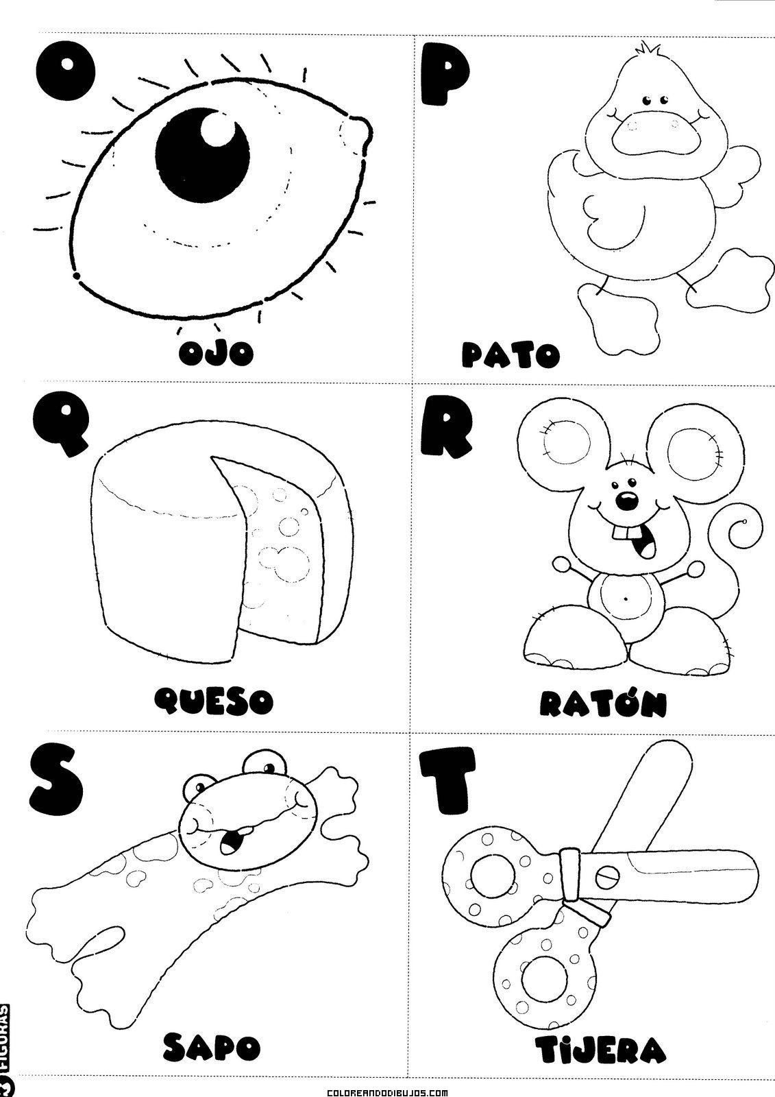O, P, Q, R, S, T, para colorear
