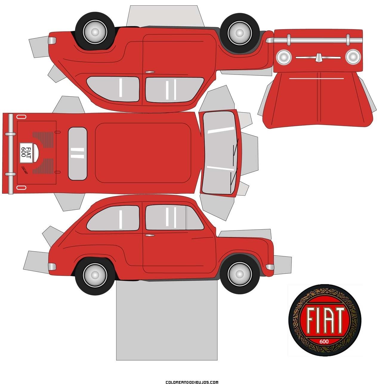 Maqueta De Fiat 600 Rojo