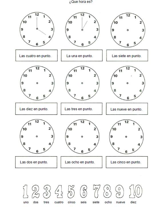 Maqueta de reloj para aprender las horas