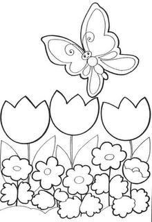 Mariposa entre tulipanes para colorear