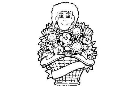 Señora con cesta de flores