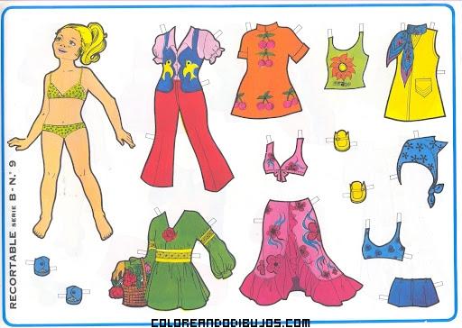 Recortable de muñecas de los años 70