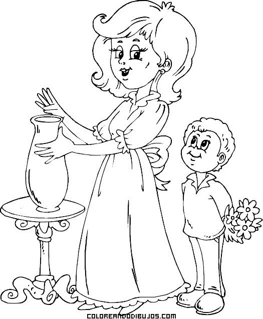 Niño regala ramo de flores a su mamá