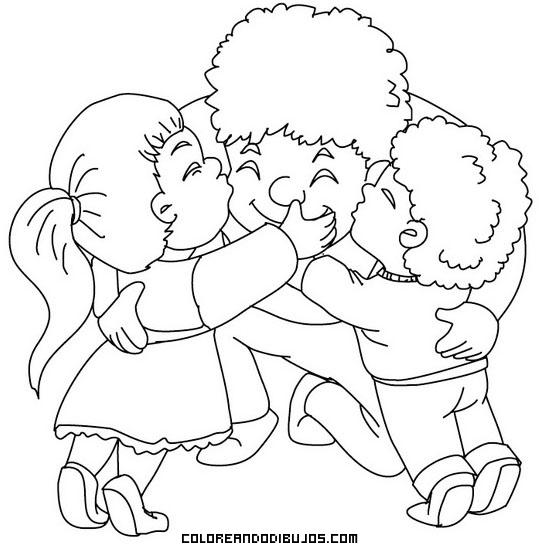 Niños abrazando para colorear - Imagui