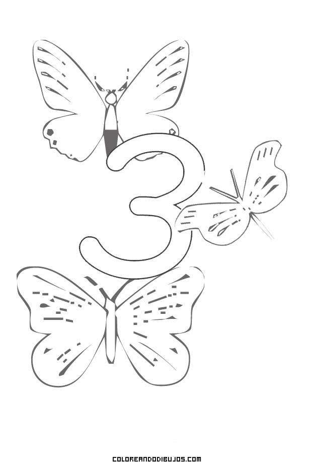 Número 3 y 3 Mariposas para colorear