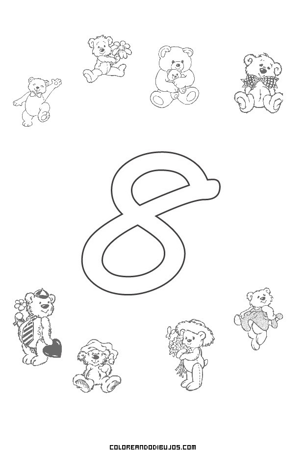 Número 8 y 8 Ositos para colorear