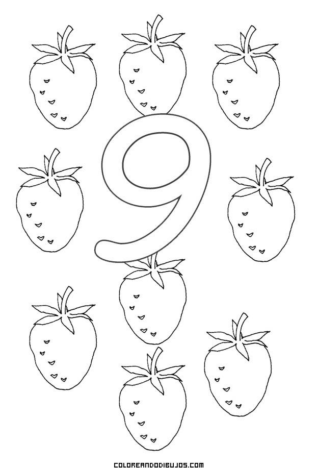Número 9 y 9 Fresitas para colorear