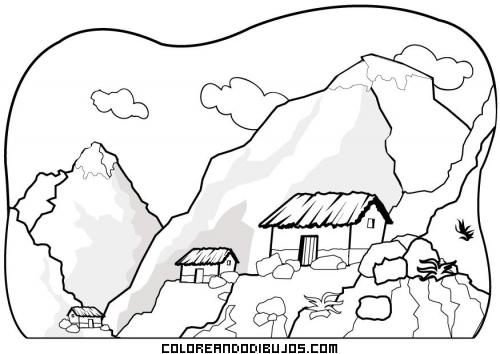 Paisaje de montaña con cabañas