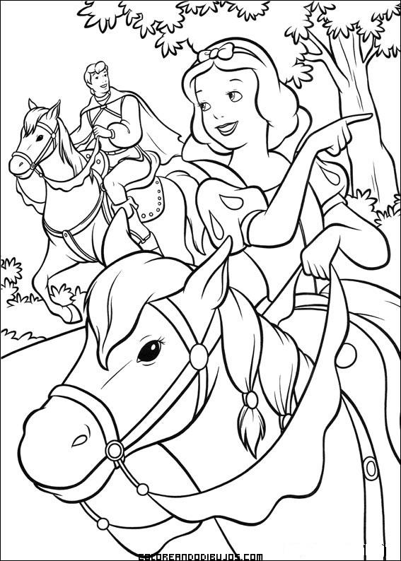 Increíble Blancanieves Y Príncipe Para Colorear Bosquejo - Páginas ...