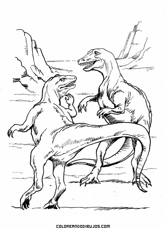 Dos tiranosaurius rex peleándose