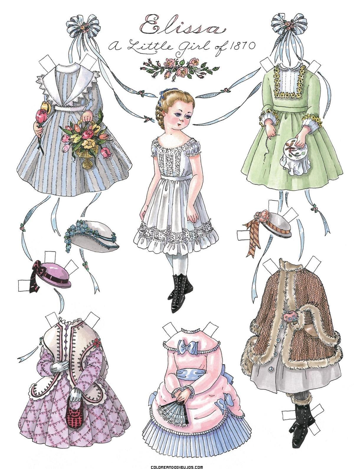 Recortable de Elissa y sus vestidos