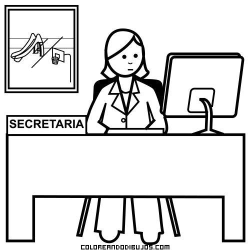 Dibujo de secretaria mirando su ordenador