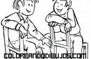 Dos amigos charlando muy animadamente