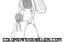 Barbie vestida de novia para colorear