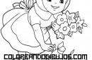 Caperucita recoge flores en el bosque