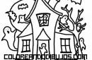Casa encantada infantil para colorear